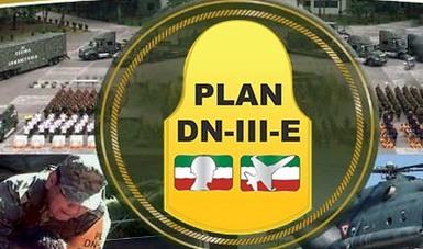 Rodela e imágenes de militares del Ejército Mexicano del Plan DN-III-E