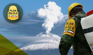 Militar del Ejército Mexicano en aplicación al Plan DN-III-E en el plan de operaciones del  Volcán Popocatepetl.