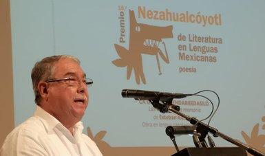 Banner del Premio Nezahualcóyotl de Literatura en Lenguas Mexicanas. 2018,  Esteban Ríos Cruz, zapoteco de Oaxaca.