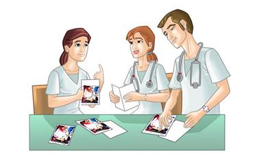Médicos mujeres y un hombre revisando documentos