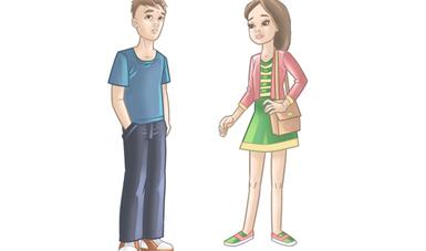 Dos jóvenes, una mujer y un hombre frente a frente con aspecto serio.