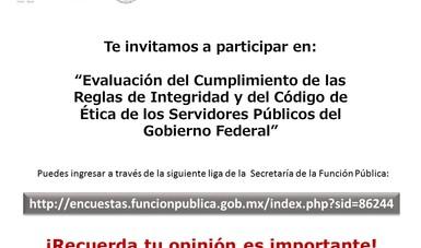 """""""Evaluación del Cumplimiento de las Reglas de Integridad y del Código de Ética de los Servidores Públicos del Gobierno Federal"""""""