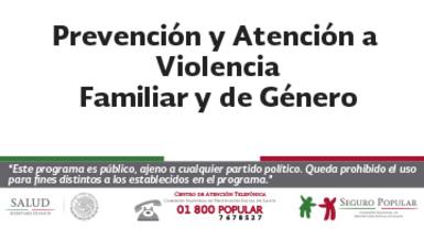 Prevención y atención a la violencia familiar y de género.