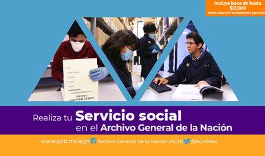 Imagen promocional para la campaña de Servicio Social que incluye tres fotografías de becarios de servicio social realizando diferentes actividades en el Archivo General de la Nación