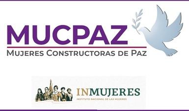 Mujeres constructoras de paz con la imagen de una paloma sosteniendo una ramita de olivo en el pico