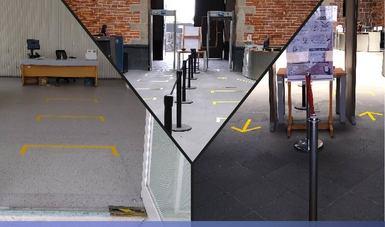 Tres imágenes donde se aprecia la adecuación de las instalaciones para atender las medidas necesarias para operar durante la Nueva Normalidad
