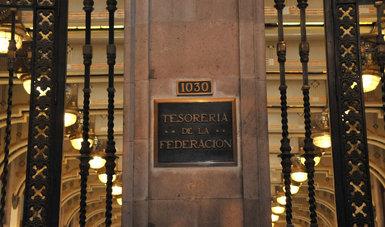 Fotografía de la placa con el nombre de la Tesorería de la Federación ubicada  en el Salón de la Tesorería en Palacio Nacional