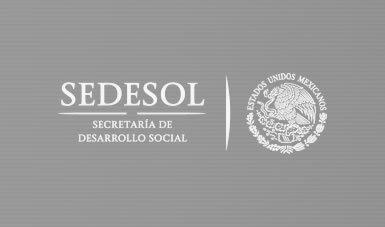 Logotipo de Sedesol sobre fondo gris