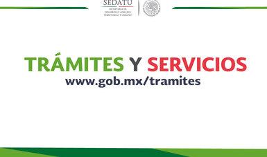 Imagen con el texto Trámites y Servicios en www.gob.mx/tramites.