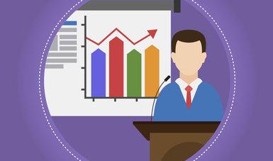 La imagen es una ilustración dónde aparece un hombre en un podium, detrás de él unas láminas con gráficas de barras (la idea es una persona presentando un informe)