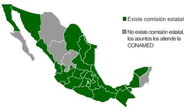 Mapa de Comisiones Estatales de Arbitraje Médico