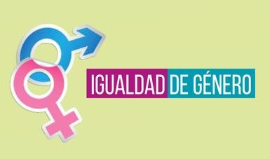 Botón verde con morado de Igualdad de Género.