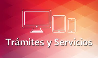 En la imagen se ven tres siluetas: una computadora, una tableta y un teléfono celular y el texto: Trámites y Servicios sobre un fondo geométrico