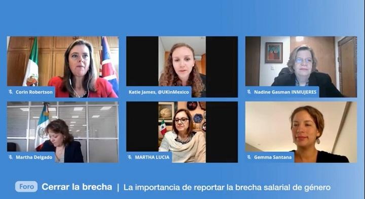 fotos de la embajadora de Reino Unido en México, Corin Robertson; de la embajada británica, Katie James; la presidenta de Inmujeres, Nadine Gasman; la subsecretaria Martha Delgado, la Senadora, Martha Lucía Micher y Gemma Santana