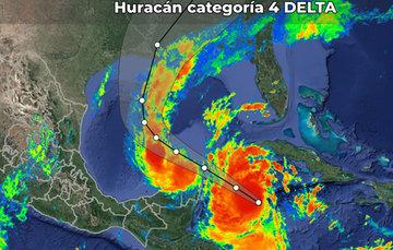 Información importante para la región maya. El Huracán Delta se dirige a la península de Yucatán.