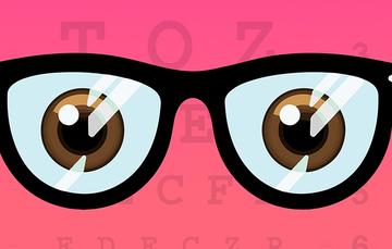 Viñeta con ojos y lentes.