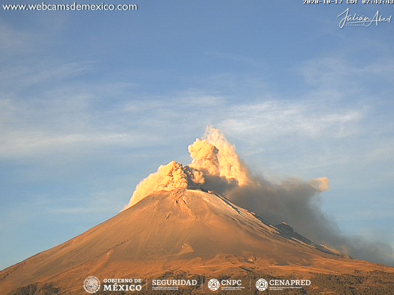 En las últimas 24 horas, mediante el sistema de monitoreo del volcán Popocatépetl se identificaron 87 exhalaciones y 150 minutos de tremor.
