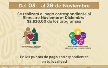 Inicia este martes pago de Pensiones para el Bienestar