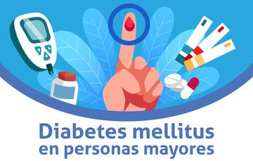 Diabetes mellitus en personas mayores un dedo con una gota de sangre.