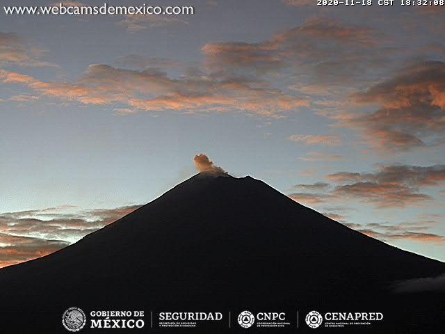 En las últimas 24 horas, mediante los sistemas de monitoreo del volcán Popocatépetl se identificaron 342 exhalaciones