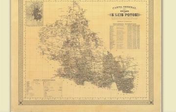 """Para conmemorar un año más, la Mapoteca Manuel Orozco y Berra presenta el: """"Carta general del estado de San Luis Potosí en 1894""""."""