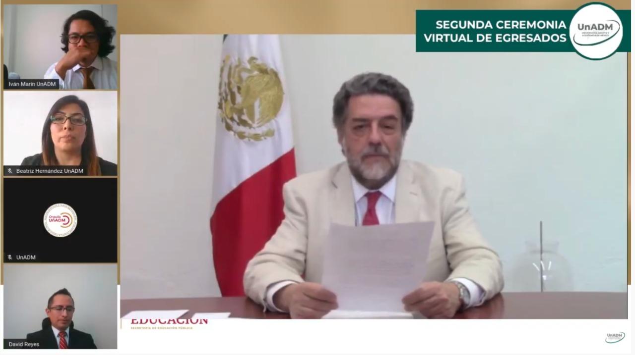 Encabeza Esteban Moctezuma Barragán ceremonia virtual de graduación de mil 182 estudiantes de la UnADM