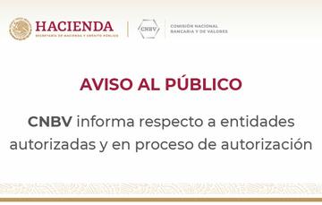 Aviso sobre entidades autorizadas y en proceso de autorización
