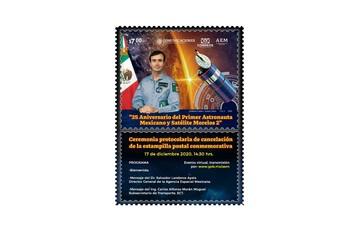 """Cancelación Estampilla Postal """"35 Aniversario del Primer Astronauta Mexicano y Satélite Morelos 2"""""""
