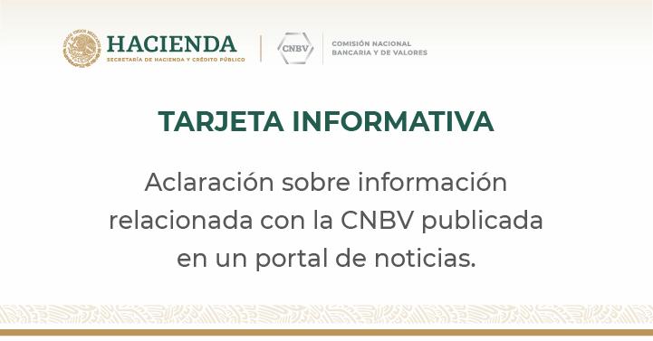 CNBV desmiente información publicada en un portal de noticias