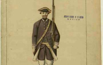 Modelo del Uniforme del Regimiento Provincial de infantería de México. AGN, MAPILU, Registro: 0061.