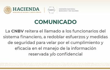 CNBV detectó una reciente publicación en medios de comunicación que difunde solicitudes de información financiera