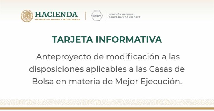 Anteproyecto de modificación a las disposiciones aplicables a las Casas de Bolsa
