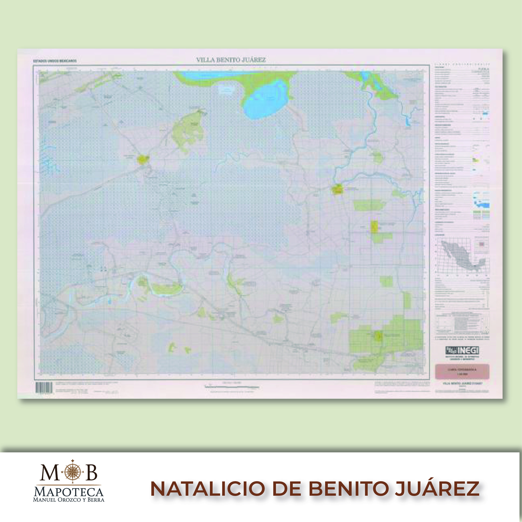 """Para recordar un año más del aniversario del nacimiento de Benito Juárez, la Mapoteca Manuel Orozco y Berra presenta esta imagen titulada: """"Carta topográfica de villa Benito Juárez""""."""