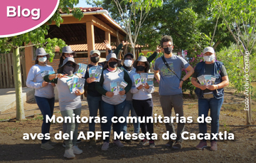 Monitoras comunitarias de aves del APFF Meseta de Cacaxtla.