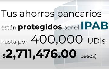 Tus ahorros bancarios están protegidos hasta por 400 mil UDIs al 16 de abril de 2021.