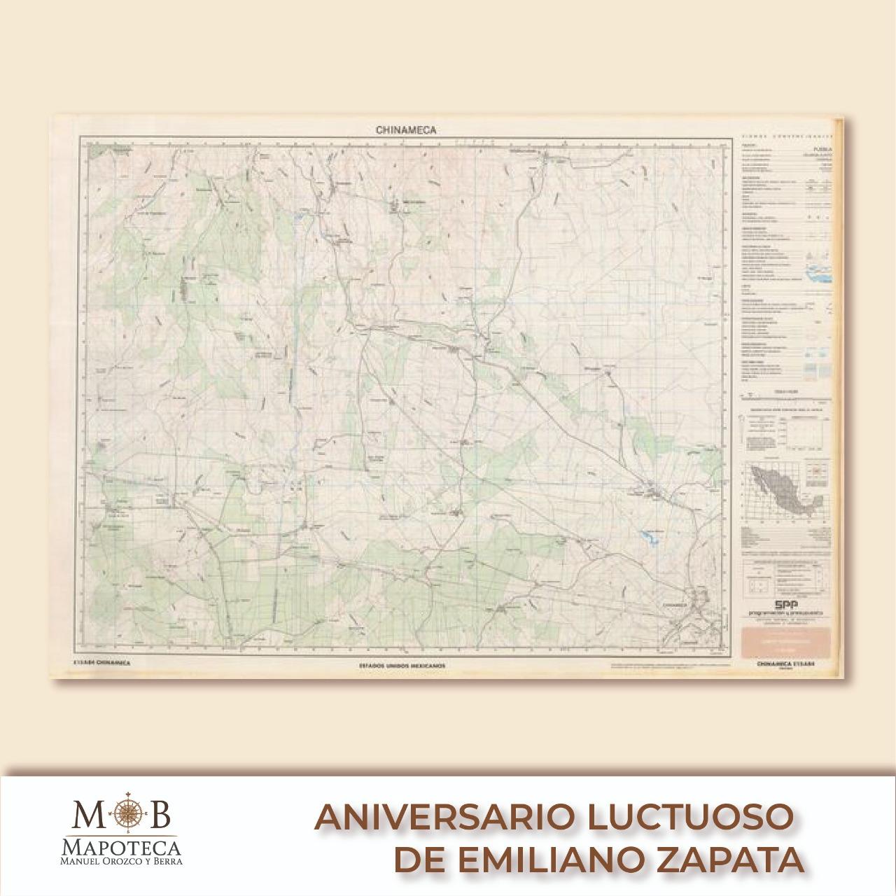 """Para conmemorar el aniversario luctuoso de Emiliano Zapata, la Mapoteca Manuel Orozco y Berra presenta esta imagen titulada: """"Chinameca""""."""