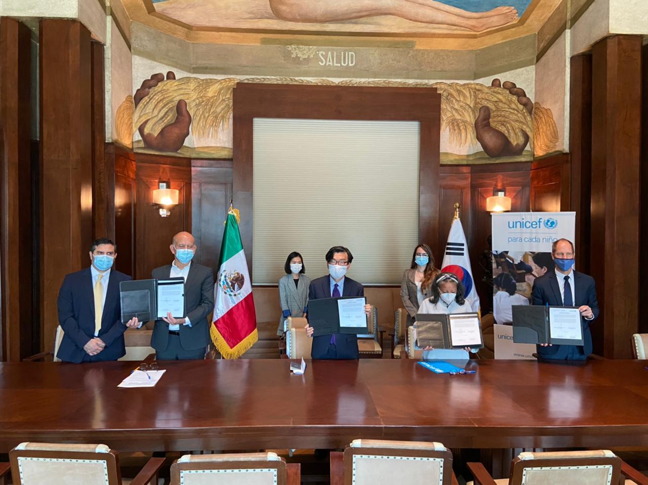 El gobierno de la República de Corea donó 500 mil mascarillas a través de UNICEF México al Insabi, para el regreso a clases de niñas y niños