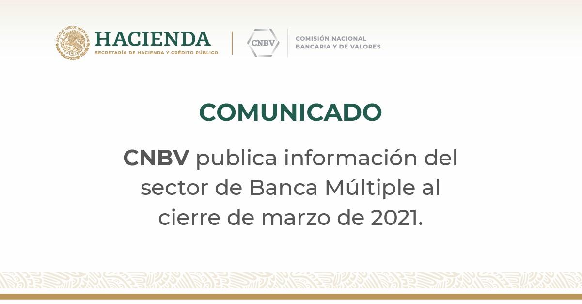 Información del sector de Banca Múltiple al cierre de marzo de 2021