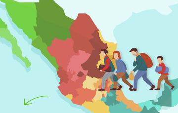 Ilustración de personas migrantes
