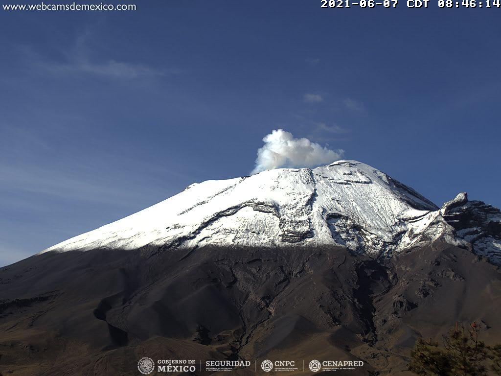 En las últimas 24 horas, mediante los sistemas de monitoreo del volcán Popocatépetl se identificaron 115 exhalaciones y 15 minutos de tremor.