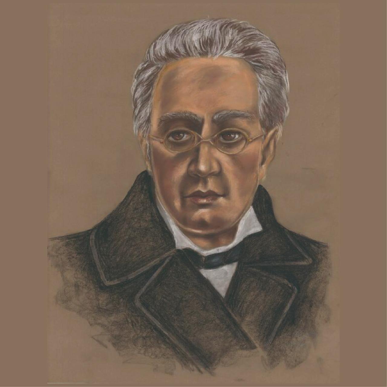 """Para conmemorar un año más de su natalicio, la Mapoteca Manuel Orozco y Berra presenta esta imagen titulada: """"Retrato de Manuel Orozco y Berra"""", elaborado por Rosa Bideau."""