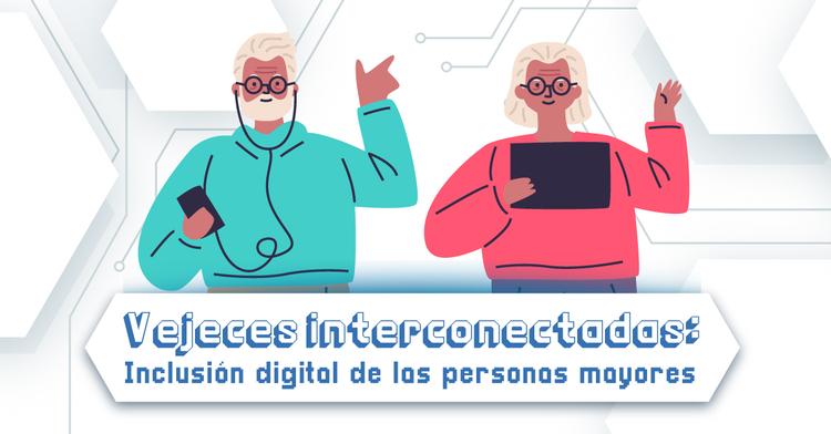Dos personas mayores con una tablet y celular respectivamente