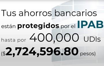 Tus ahorros bancarios están protegidos hasta por 400 mil UDIs al 11 de junio de 2021.
