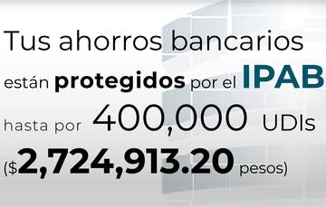 Tus ahorros bancarios están protegidos hasta por 400 mil UDIs al 12 de junio de 2021.