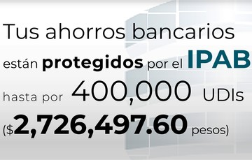 Tus ahorros bancarios están protegidos hasta por 400 mil UDIs al 17 de junio de 2021.