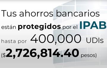 Tus ahorros bancarios están protegidos hasta por 400 mil UDIs al 18 de junio de 2021.