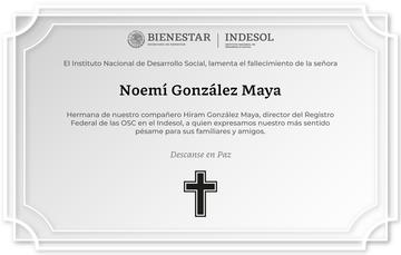 El Indesol lamenta el fallecimiento de la Sra. Noemí González Maya