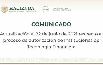 CNBV actualiza información respecto al proceso de autorización de Instituciones de Tecnología Financiera