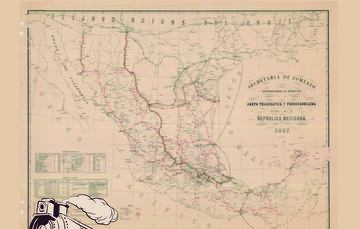 """Para conmemorar un año más de la Nacionalización de los ferrocarriles, la Mapoteca Manuel Orozco y Berra presenta esta imagen titulada: """"Carta telegráfica y ferrocarrilera"""", elaborada en 1887."""