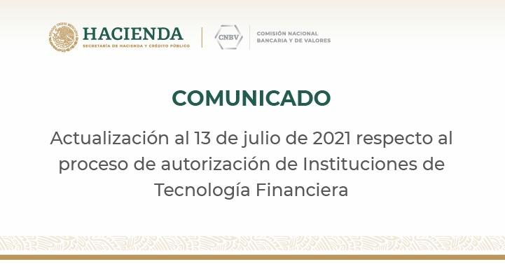 CNBV continúa con la emisión de autorizaciones a empresas que cumplieron con la totalidad de requisitos del marco regulatorio para las ITF